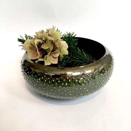 Gabi Komar-Dixon Large  Jade and bronze  earthenware bowl 07