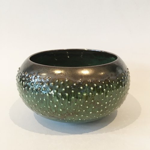 Gabi Komar-Dixon Jade and bronze small earthenware bowl 12