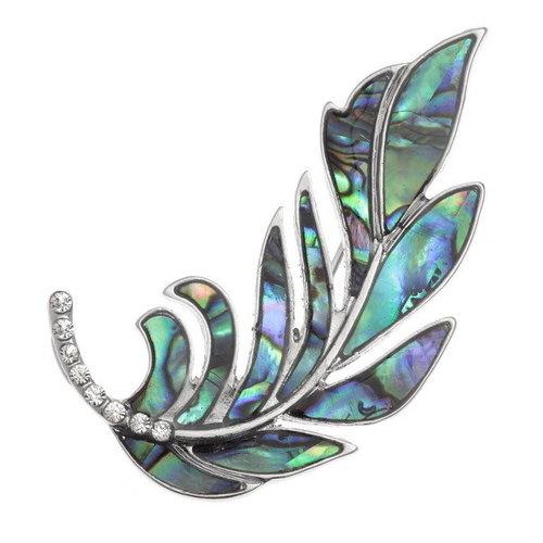 Tide Jewellery Feather  paua shell brooch 136