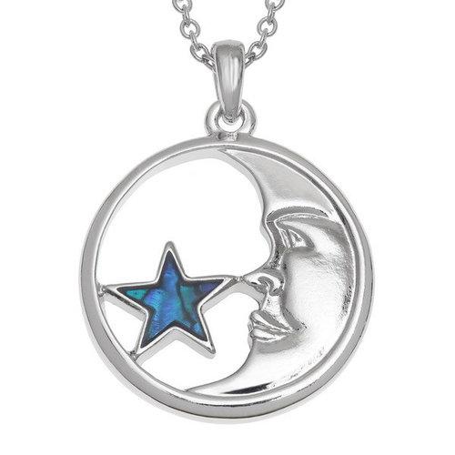 Tide Jewellery Collar de concha de Paua con incrustaciones de luna y estrella T579