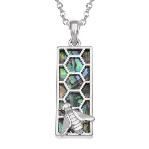 Tide Jewellery Collar de concha de paua con incrustaciones de panal de abeja T755
