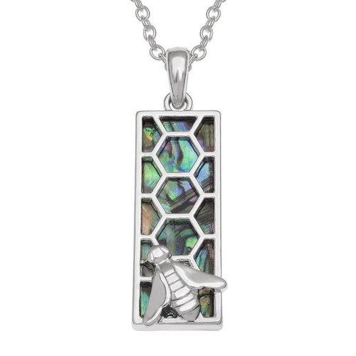 Tide Jewellery Honeycomb Bee Inlaid Paua shell  necklace T755