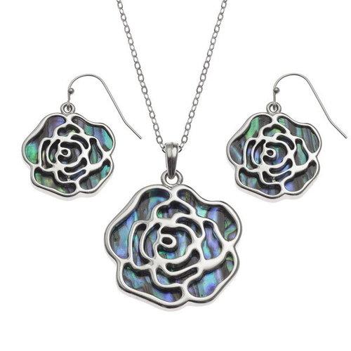 Tide Jewellery Collar de concha de Paua con incrustaciones de rosa T461