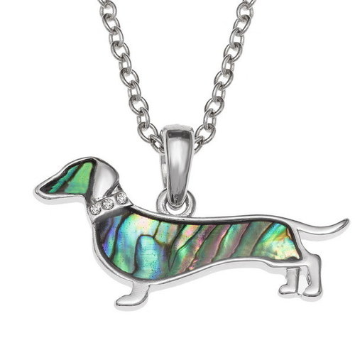 Tide Jewellery Dackel Hund eingelegte Paua Muschelkette T739