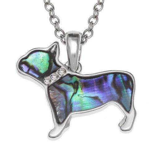 Tide Jewellery Perro Bulldog con incrustaciones de collar de concha Paua 736