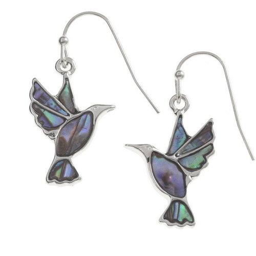 Tide Jewellery Pájaros que vuelan Pendientes con incrustaciones de concha Paua T201
