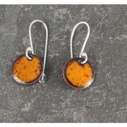 Jane Marshall Round enamel drop earrings orange 10
