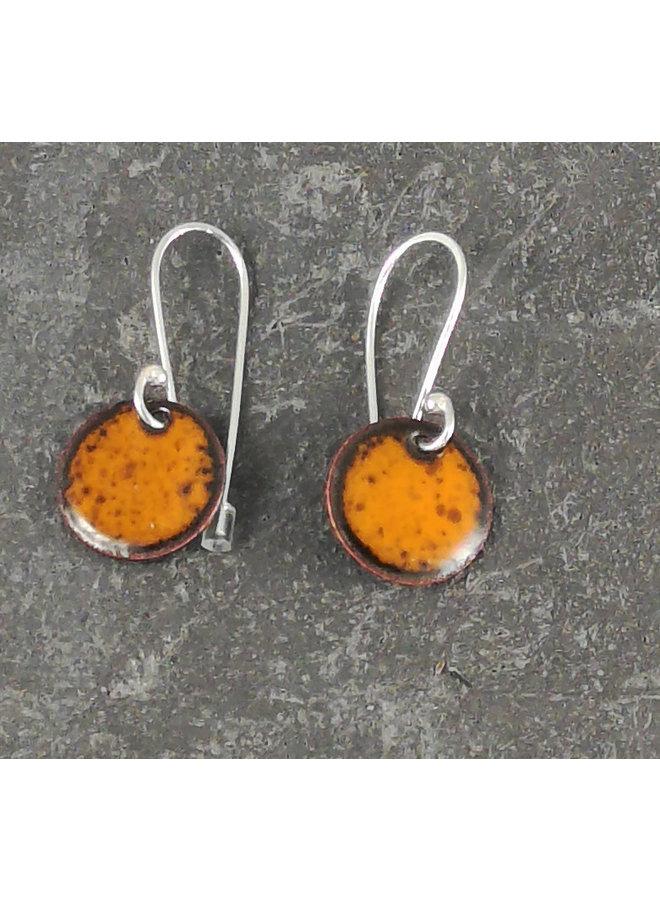Round enamel drop earrings orange 10