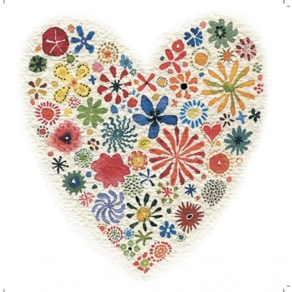 Floral Heart by John Dykes 140x140mm card