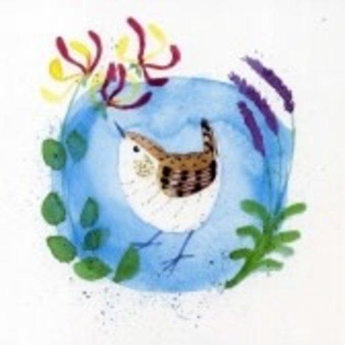 Artists Cards Honeysuckle & Wren by Julia Crimmen 140x140mm card