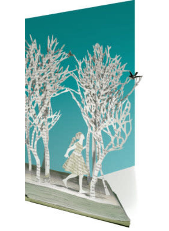 Girl and birds in A Wood by Su Blackwell Laser Card