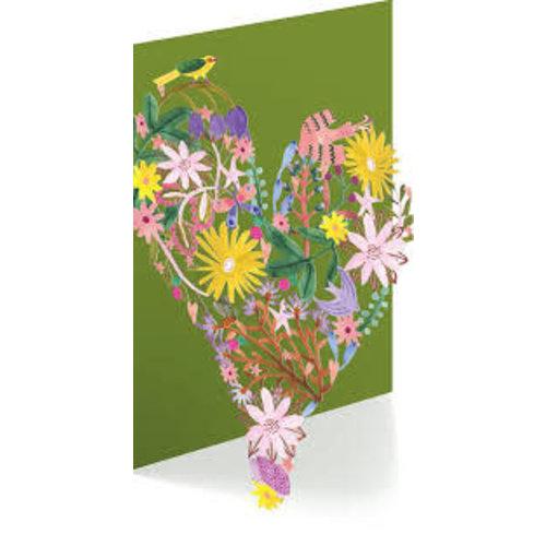 Roger La  Borde Floral Heart  by Rosie Harbottle Laser Card