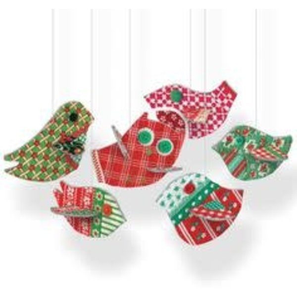 Chirpy Hanging birds pop and slot by Clare Beaton