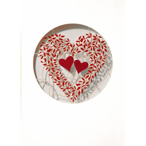 Forever Cards Two hearts and red leaves Laser cut card