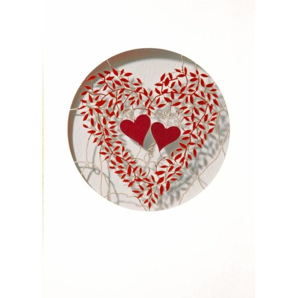 Two hearts and red leaves Laser cut card