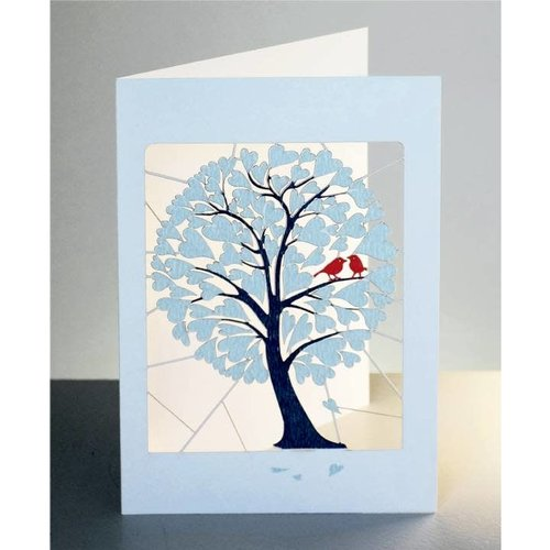 Forever Cards Blue Hearts and birds in tree Laser cut card