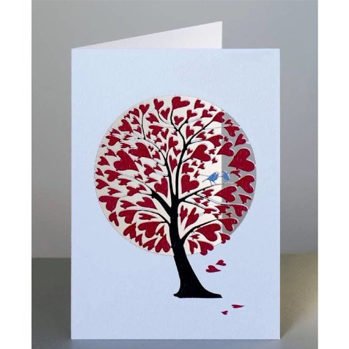Forever Cards Red Hearts and birds in tree Laser cut card