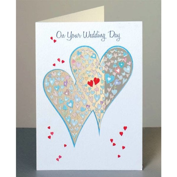 Wedding Day Two Hearts  Laser cut card