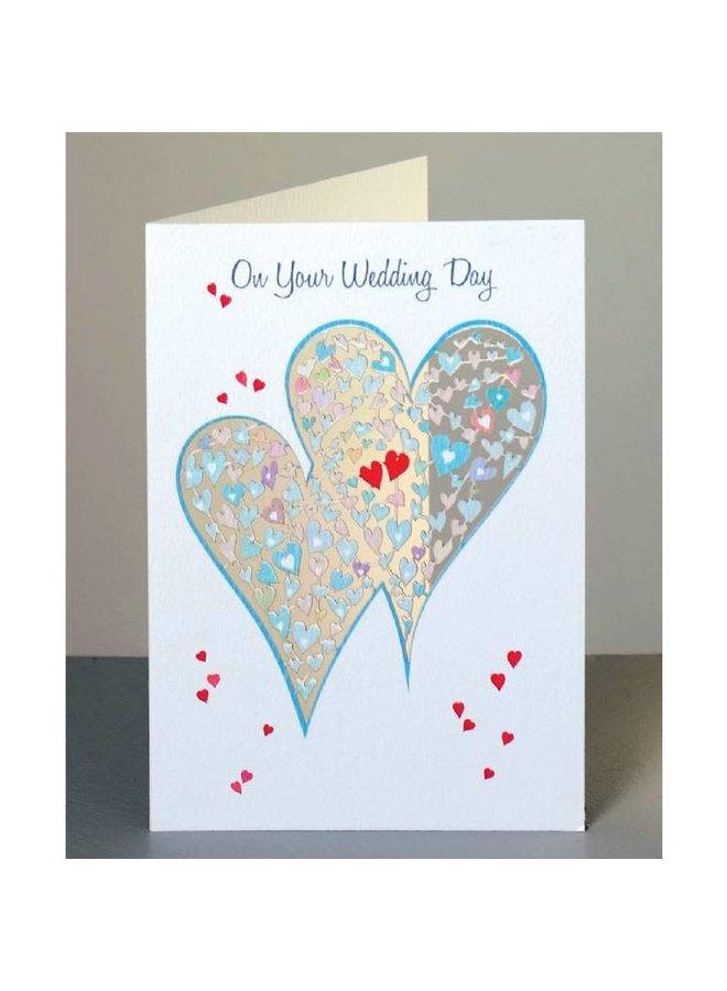 Wedding Day Two Hearts  Laser cut card
