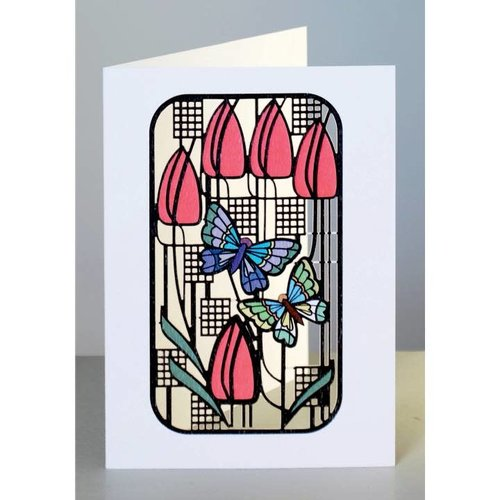 Forever Cards Butterflies and Tulips  Laser cut card
