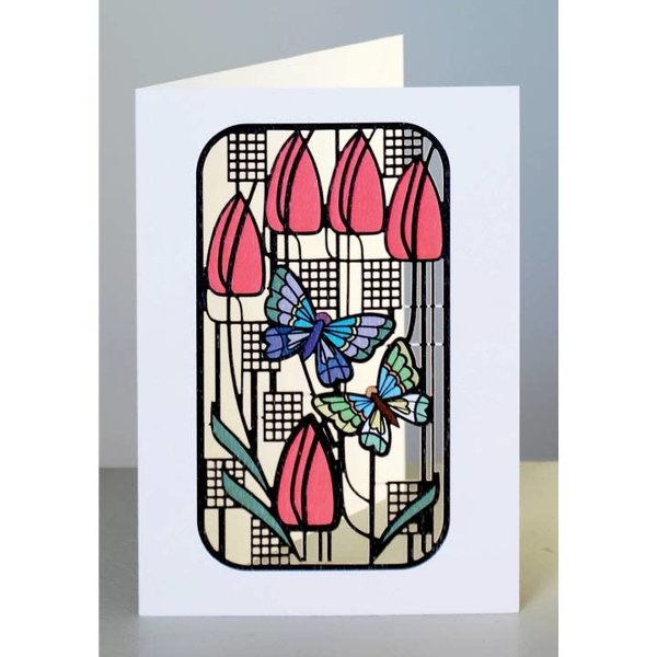 Butterflies and Tulips  Laser cut card