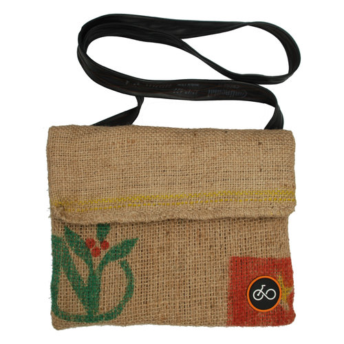 Cylcle Of Good Recylced Coffee Sack & Inner Tube Messenger Bag
