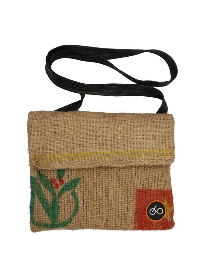 Recylced Coffee Sack & Schlauch Messenger Bag