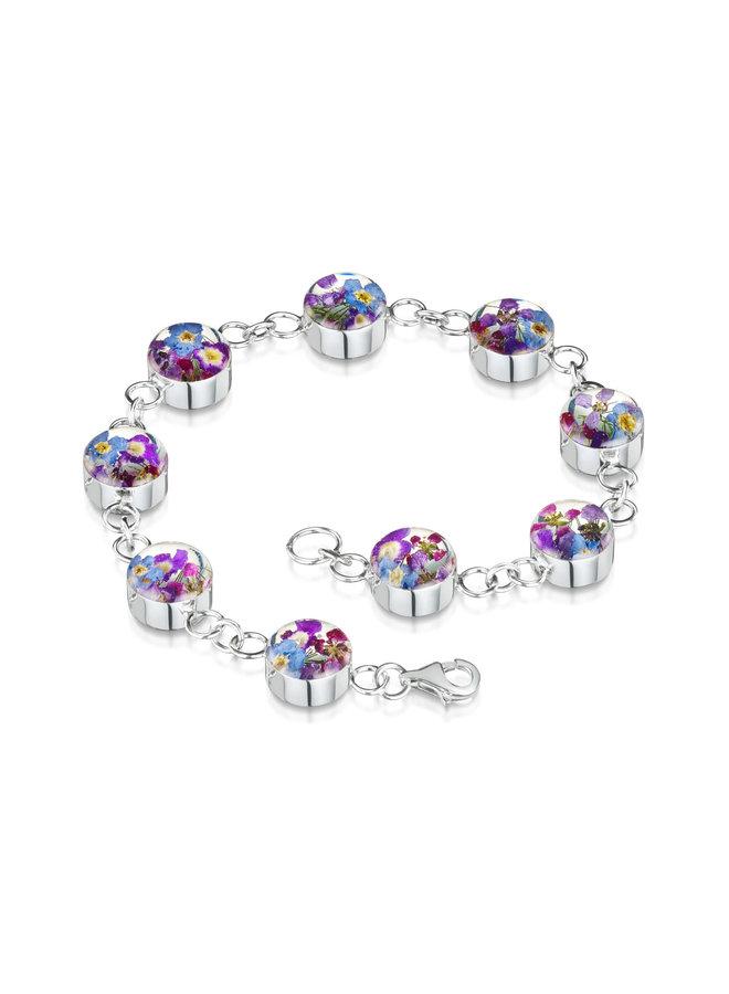 Purple Haze Bracellet mischte echte Blumen und Silber 128