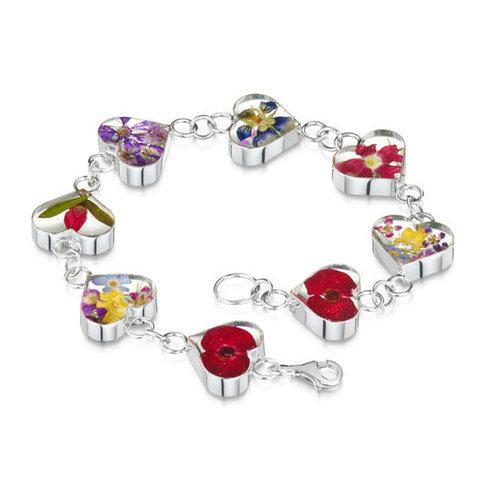 Shrieking Violet Heart links bracellet mixed real flower silver 132
