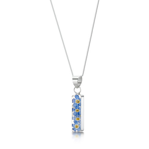 Shrieking Violet Vergiss mich nicht Rechteck Halskette mit echten Blumen und Silber 123