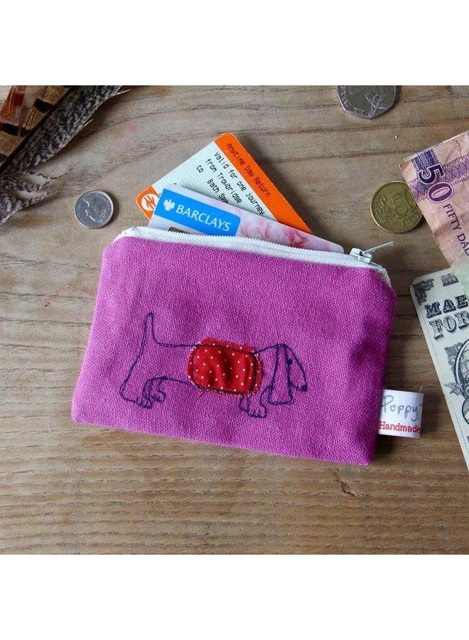 Dackel gestickte Geldbörse 04