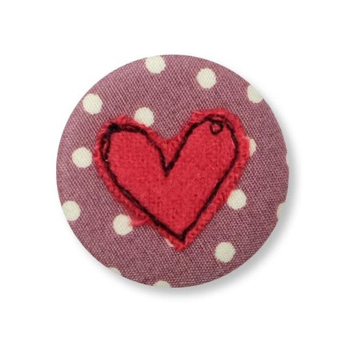 Poppy Treffry Heart embroidered  badge / brooch 10