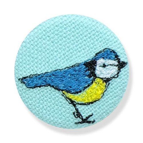 Poppy Treffry Blue Tit embroidered  badge / brooch 15