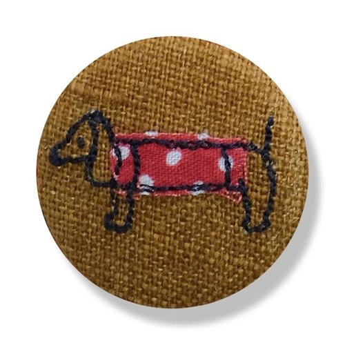 Poppy Treffry Dachshund embroidered  badge / brooch 18