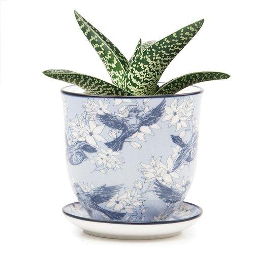 Chive Bluebirds and flowers  Liberte ceramic mini planters 01