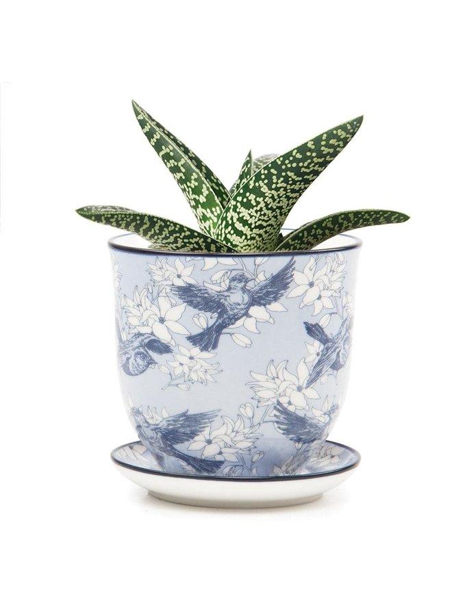 Bluebirds und Blumen Liberte Keramik Mini Pflanzgefäße 01