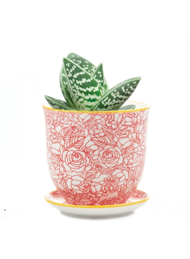 Rote Rose Liberte Keramik Mini Pflanzgefäße 002