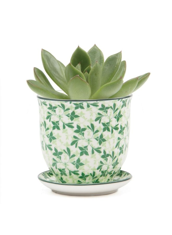 Grüne Blätter Liberte Keramik Mini Pflanzgefäße 004
