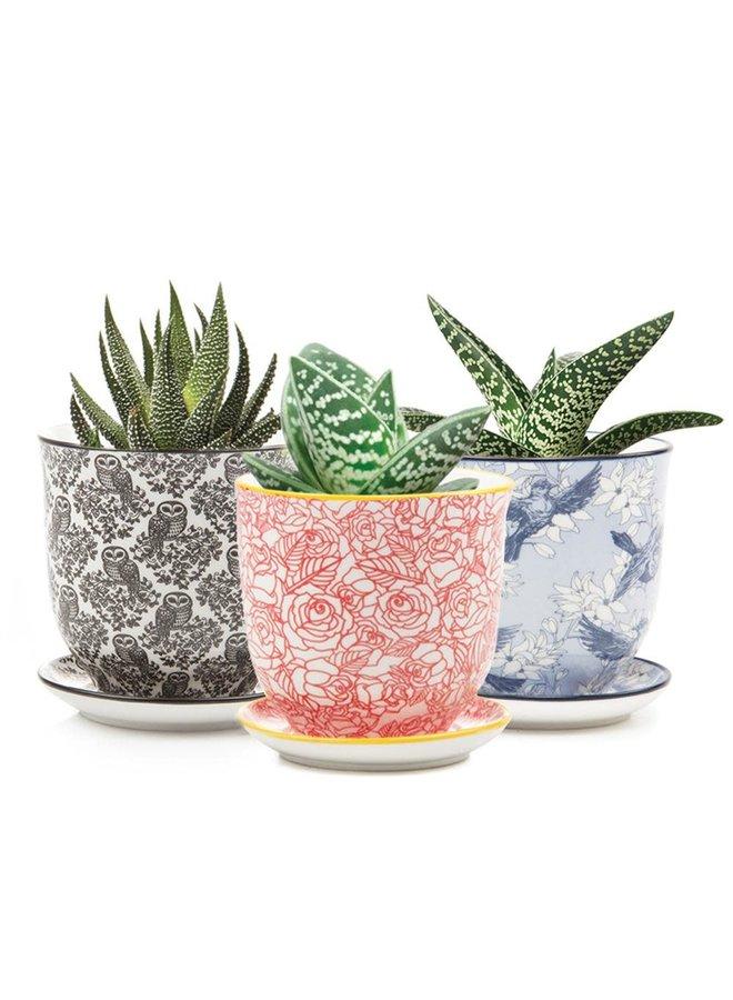 Eule Liberte Keramik Mini Pflanzgefäße 006