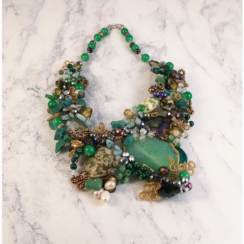 Lotus Feet Green and gold Statement  necklace 073