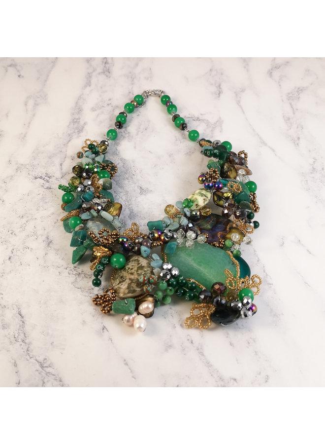 Grün und Gold Statement Halskette 073