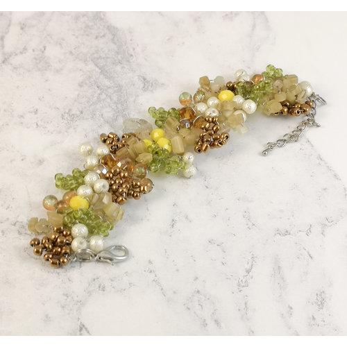 Lotus Feet Green and yellow  bracelet 078