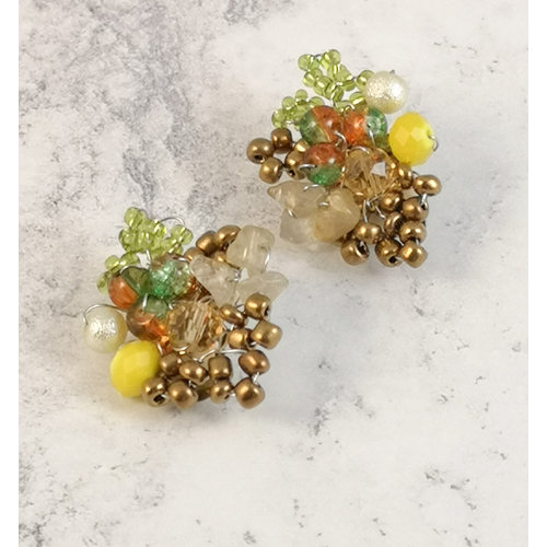 Lotus Feet Green and yellow clip earrings 077