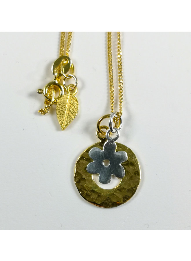 Gold Vermeil gehämmert Kreis Silber Daisy Halskette 51