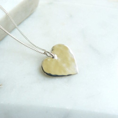 Lime Tree Design Heart hammered silver necklace 54