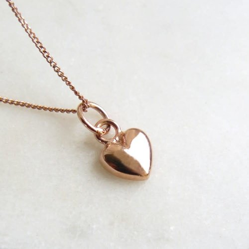 Lime Tree Design Tiny Heart Charm Rose Gold Vermeil necklace 56