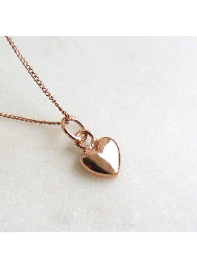 Kleines Herz Charm Rose Gold Vermeil Halskette 56