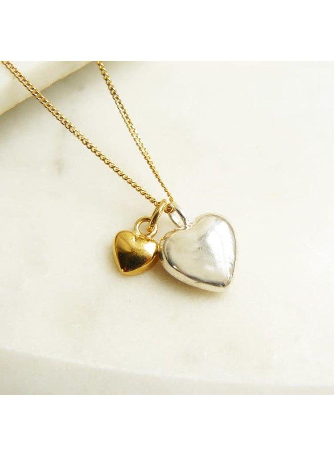 Halskette aus Roségold und Silber mit zwei Herzen 57
