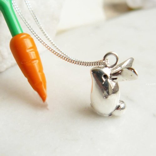 Lime Tree Design Bunny Rabbit silver necklace 58