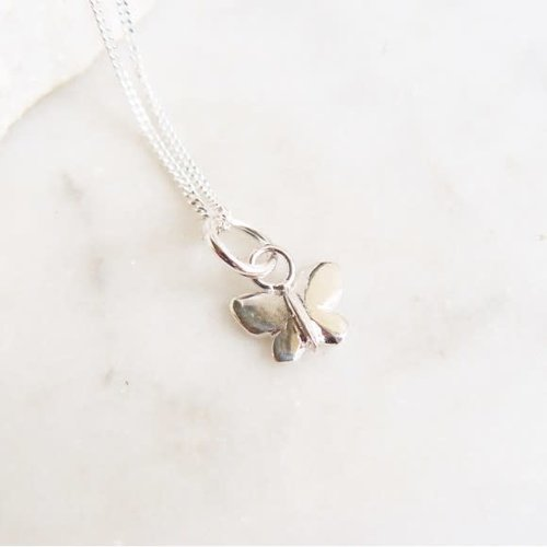 Lime Tree Design Butterfly charm tiny  silver necklace 59